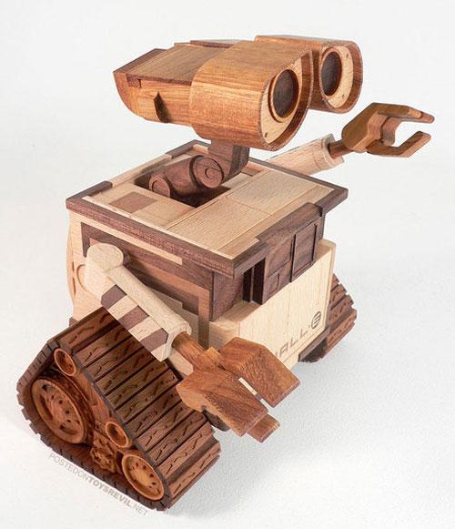 wood wooden wall-e morpheus sculpture booooooom