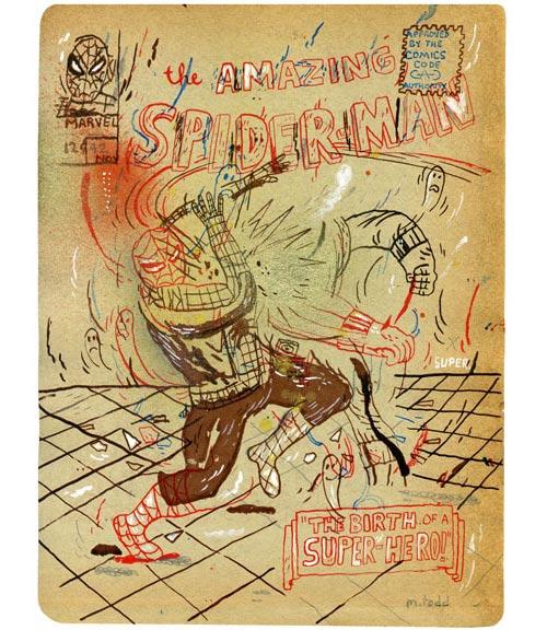 todd mark illustration illustrator comic book mixed media distorted spray cel-vinyl