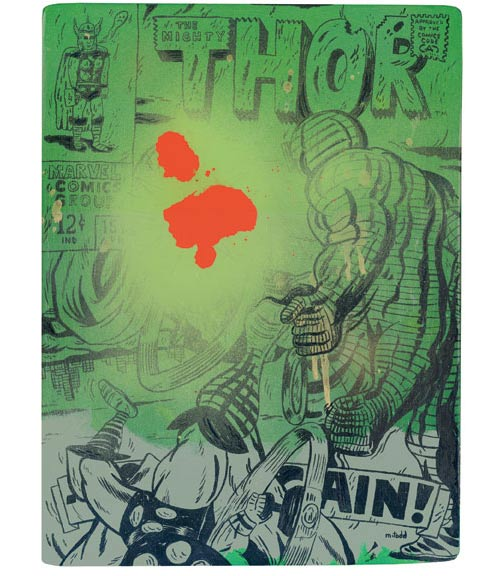 todd mark illustration illustrator comic book mixed media distorted spray cel-vinyl