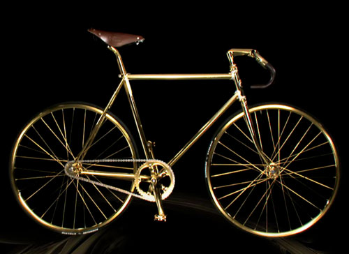 24k gold swarovski diamond encrusted aurumania track bike fixed gear bicycle