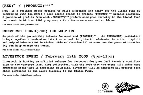 jeff hamada converse 1hund(red) red (product)red livestock vancouver chuck taylor shoe charity the global fund