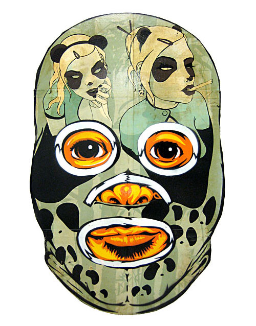wooden mexican wrestler mask