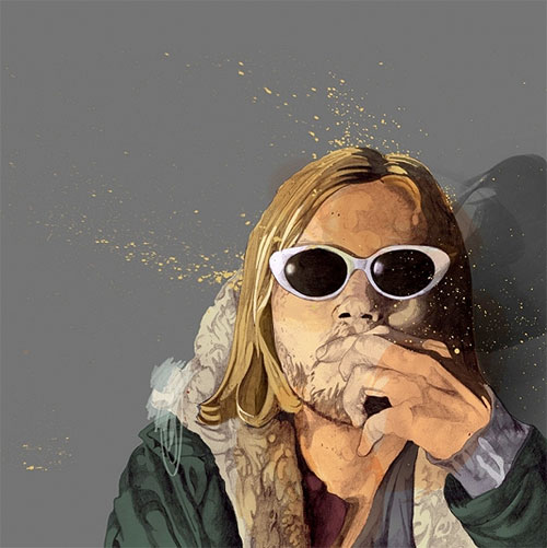 matthew hollings illustration illustrator kurt cobain portrait thom yorke