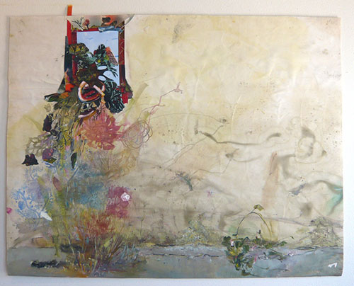 paula wilson mixed media painting spray oil paper wood block