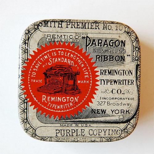 typewriter vintage ribbon tin collection uppercase