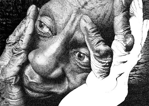 aaron baggio illustration pen ink pointillism