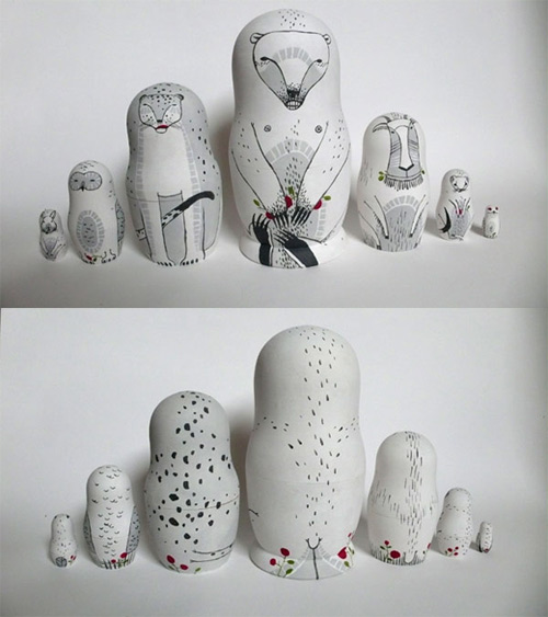 irina troitskaya matreshkas animal art sculpture russian dolls