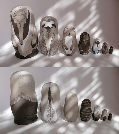 irina troitskaya matreshkas animal art sculpture russian dolls
