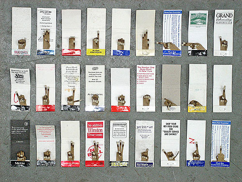 jk keller design type graphic artist matchbook sign language