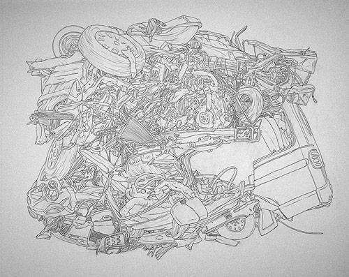 scott teplin crashes graphite ink watercolor drawing