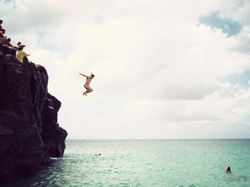 rock jump hawaii beach