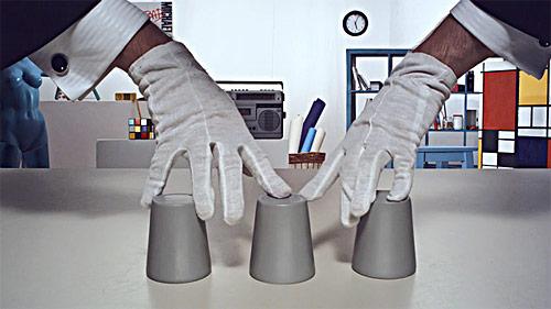 chop cup weareom art installation video magic trick