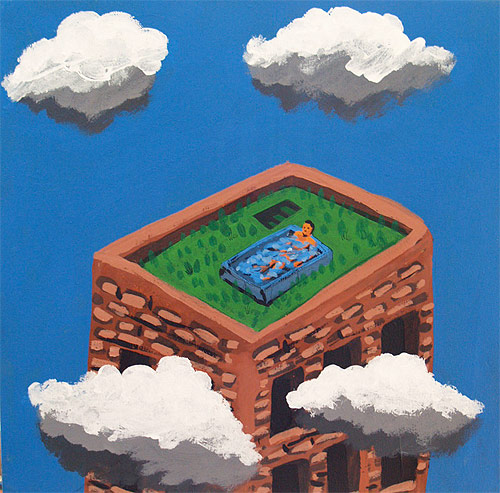 Artist painter Cristian Elizalde painting
