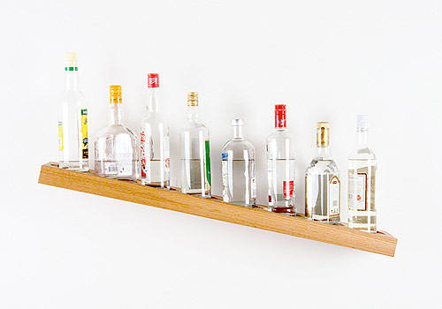 james hopkins artist sculpture tilted shelf bottles