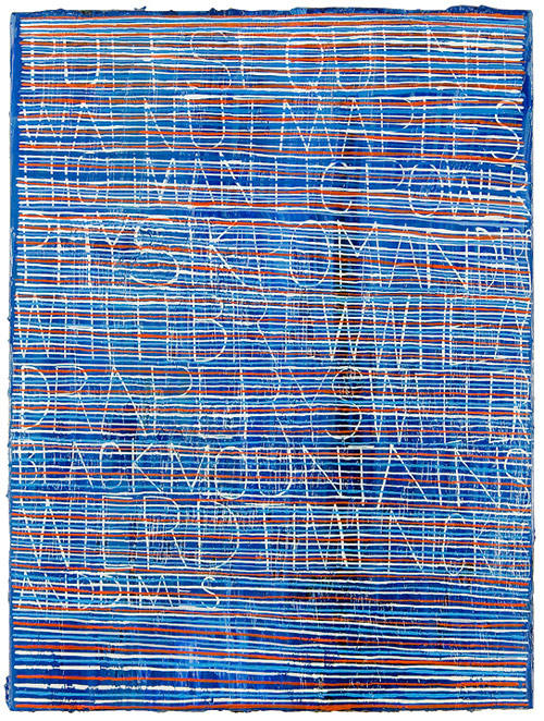 ej hauser artist painter text on stripes painting