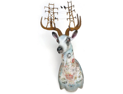 elizabeth mcgrath art sculpture deer antler