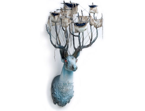 elizabeth mcgrath art sculpture deer antlers