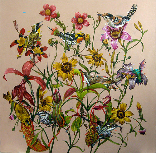 frank gonzales artist painter one painting birds flowers