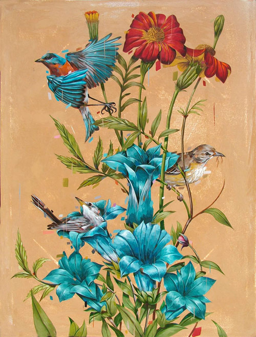 frank gonzales artist painter painting two birds flowers