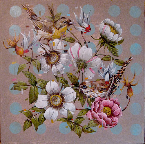 frank gonzales artist three painter painting birds flowers
