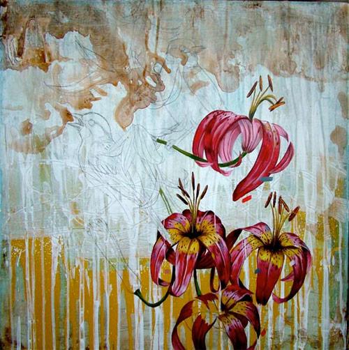 frank five gonzales artist painter painting birds flowers