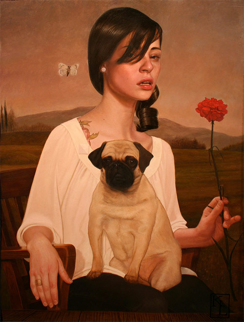 kris lewis artist portrait pug girl painter painting