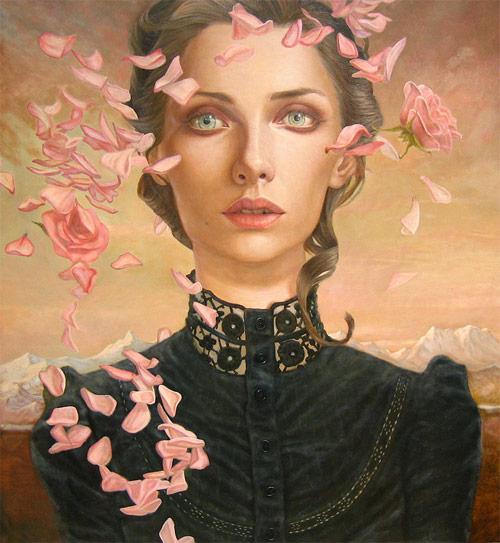 kris lewis artist pink flower petals girl painter painting