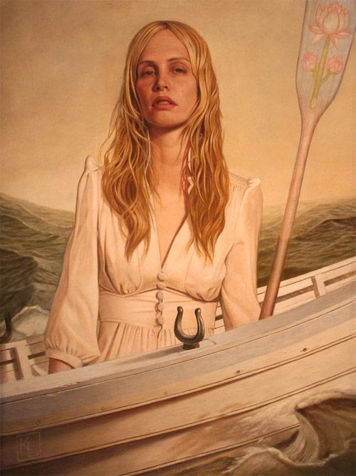 kris lewis artist boat oar girl painter painting