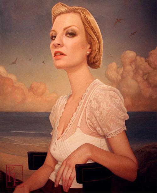 kris lewis artist beach girl painter painting
