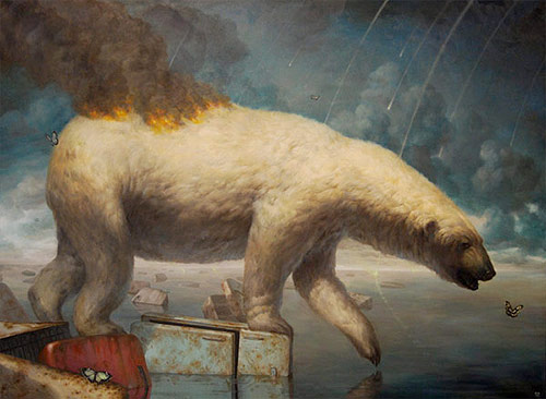 artist painter painting martin wittfooth polar bear on fire