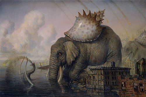 artist painter painting shell elephant martin wittfooth