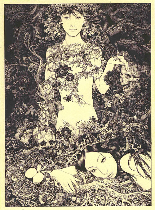 Artist Vania Zouravliov two girls with a skull in the woods drawing