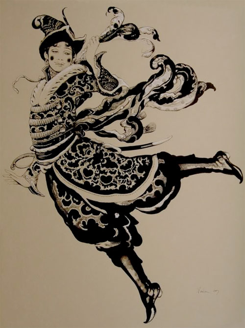 Vania Zouravliov exquisite costume flourishes sword and hat drawing