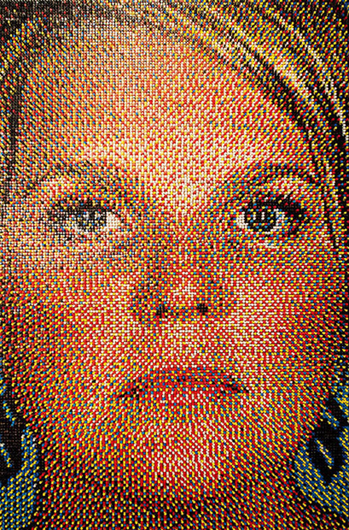 eric daigh push pin art portrait