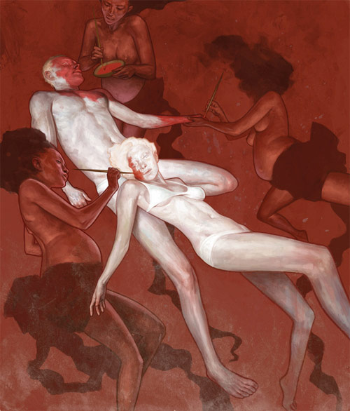 jeremy enecio nudes being painted red illustration illustrator