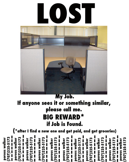 porous walker lost job flyer