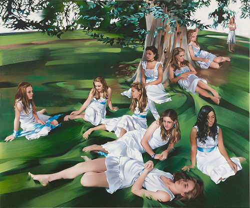 rebecca campbell bunch of girls under a tree wearing dresses artist painter painting