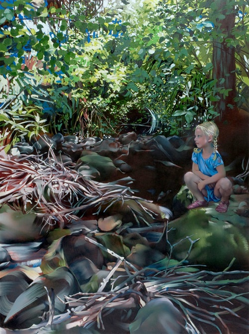 rebecca campbell girl sitting near drift wood artist painter painting