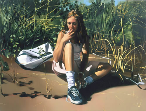 rebecca campbell girl smoking painting