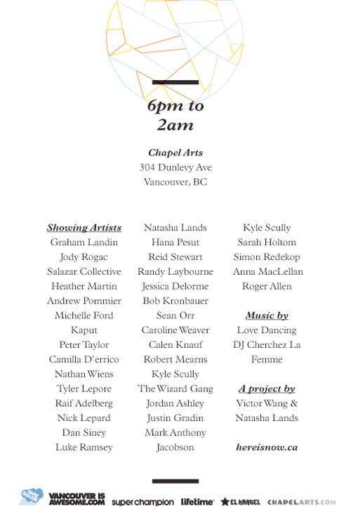 here is now finale show vancouver chapel arts art