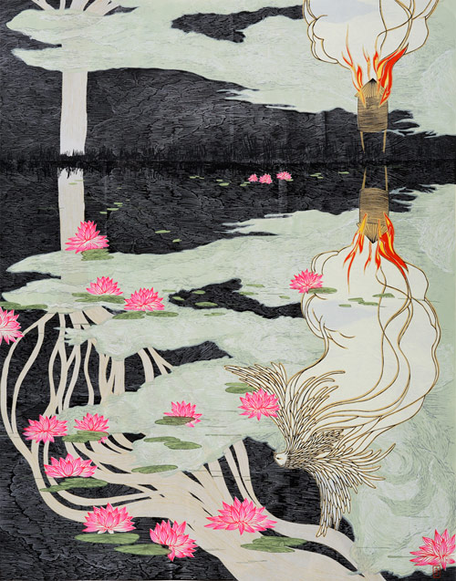 artist jungil hong collage print sculpture