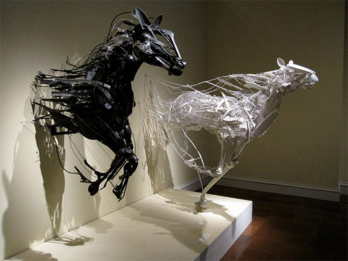 Reclaimed object sculptures by Sayaka Kajita Ganz