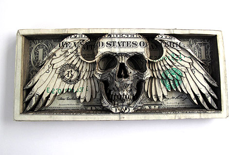 artist tattoo scott campbell laser cut dollar bills
