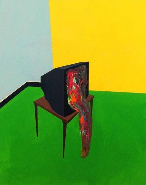 Artist painter Pedro Paricio painting