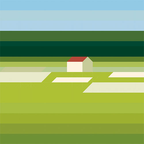 Landschaft mit haus paintings by Maria Zaikina