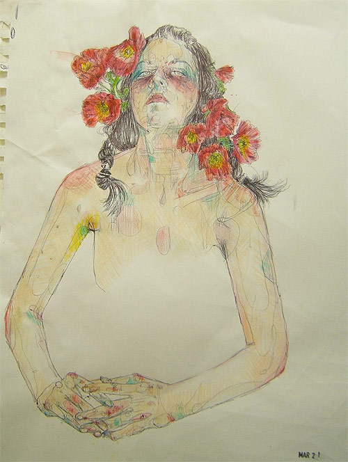 Artist Moni Lewandowski drawing painting