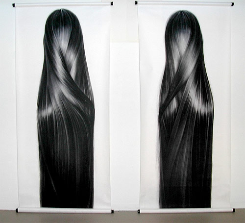 Hair drawings by artist Hong Chun Zhang