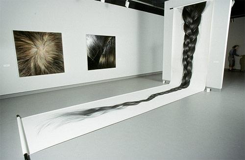 Hair drawings by artist Hong Chun Zhang