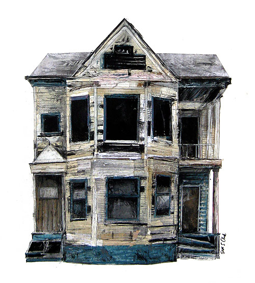 drawings by seth clark mixed media abandoned houses