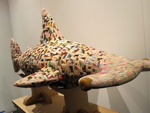 haroshi recycled skateboard sculptures shark